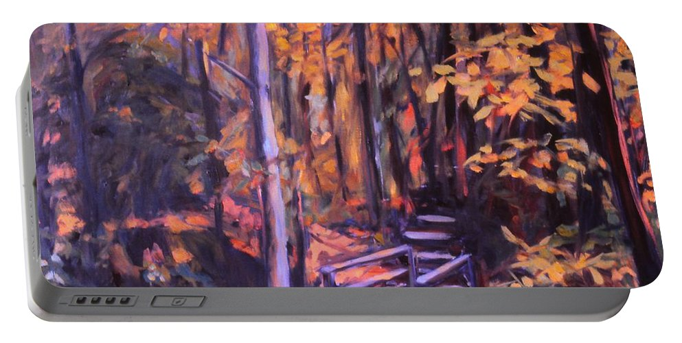 Woods Portable Battery Charger featuring the painting Bridge in Woods Near Pandapas by Kendall Kessler