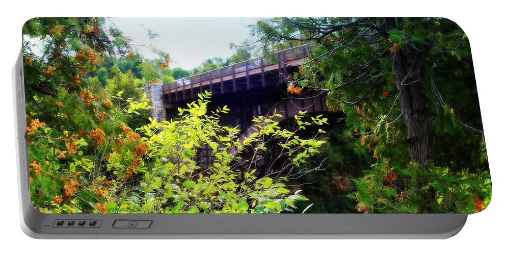 Bridge Over Ausable Chasm Portable Battery Charger featuring the photograph Bridge Over Ausable Chasm by Patti Whitten