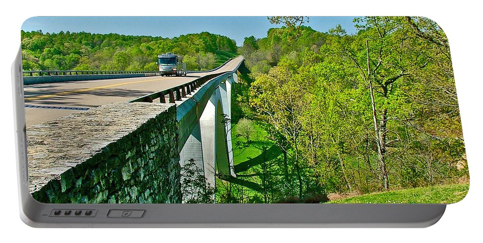 Bridge Over Birdsong Hollow At Mile 438 Natchez Trace Parkway Portable Battery Charger featuring the photograph Bridge Over Birdsong Hollow At Mile 438 Of Natchez Trace Parkway-tennessee by Ruth Hager
