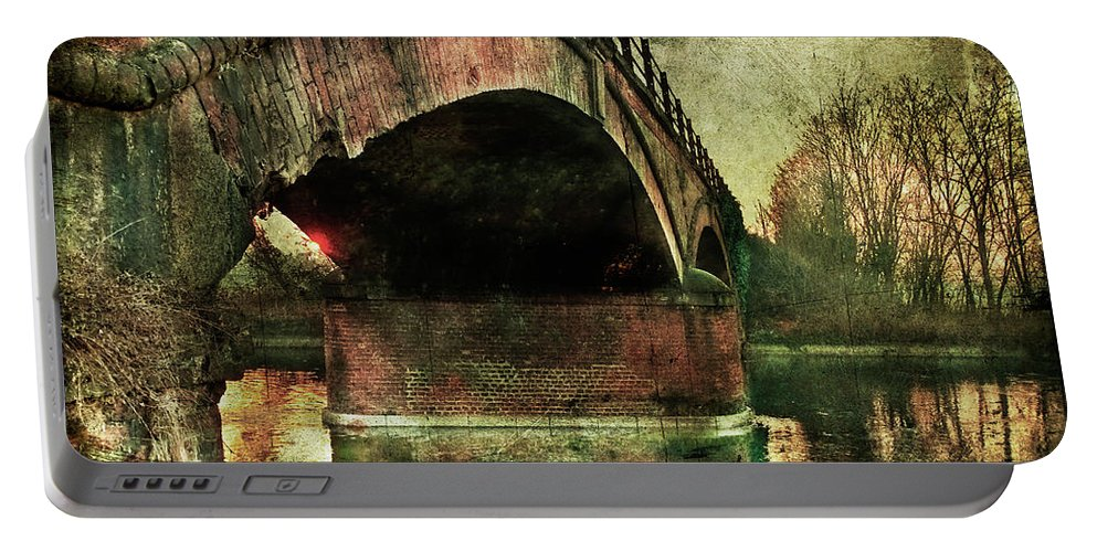 Albairate Portable Battery Charger featuring the photograph Bridge Over The Canal by Roberto Pagani