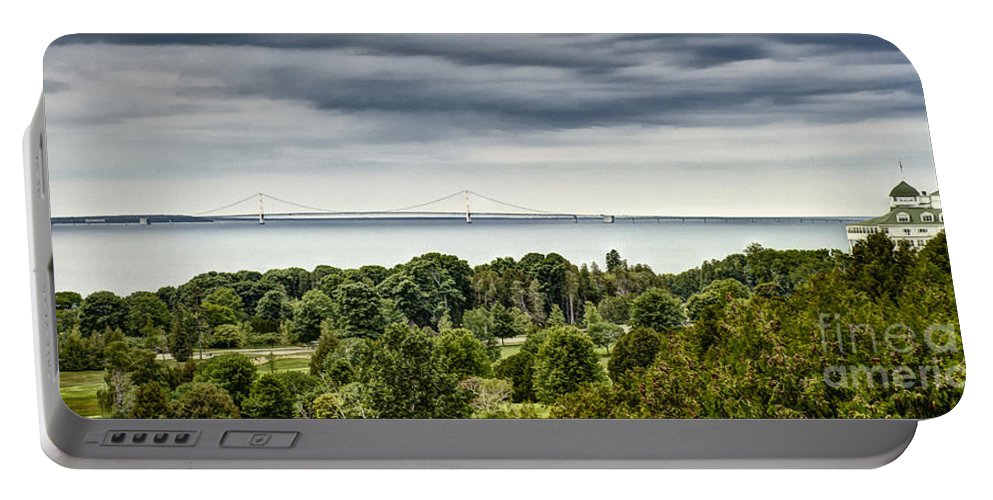 Travel Portable Battery Charger featuring the photograph Bridge To Mackinac by Margie Hurwich