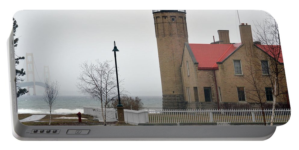 Mackinaw Point Lighthouse Portable Battery Charger featuring the photograph Bridge To The Left by Linda Kerkau