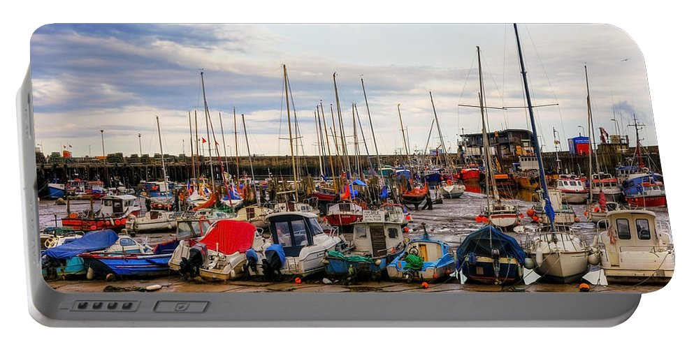 Anchored Portable Battery Charger featuring the photograph Bridlington Harbour by Svetlana Sewell