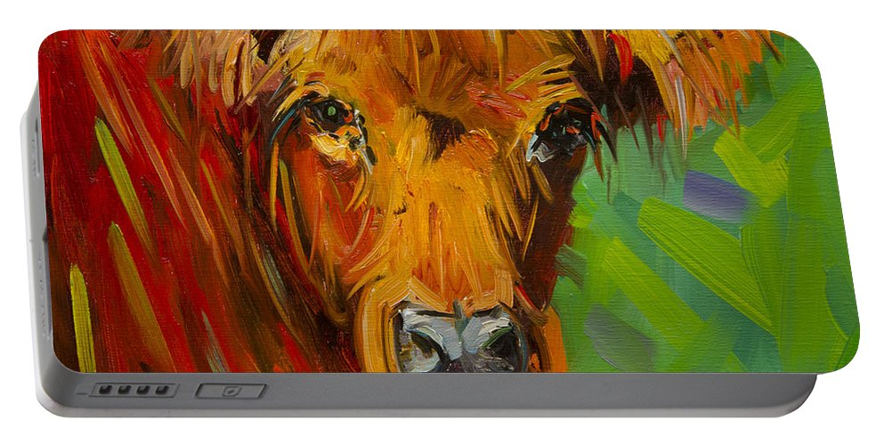 Cow Portable Battery Charger featuring the painting Bright And Beautiful Cow by Diane Whitehead