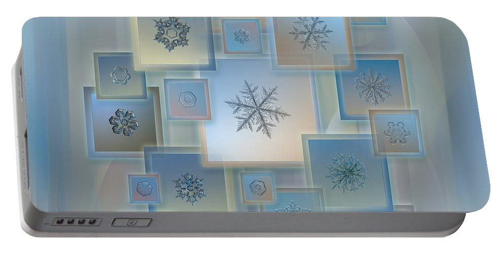 Snowflake Portable Battery Charger featuring the photograph Snowflake Collage - Bright Crystals 2012-2014 by Alexey Kljatov