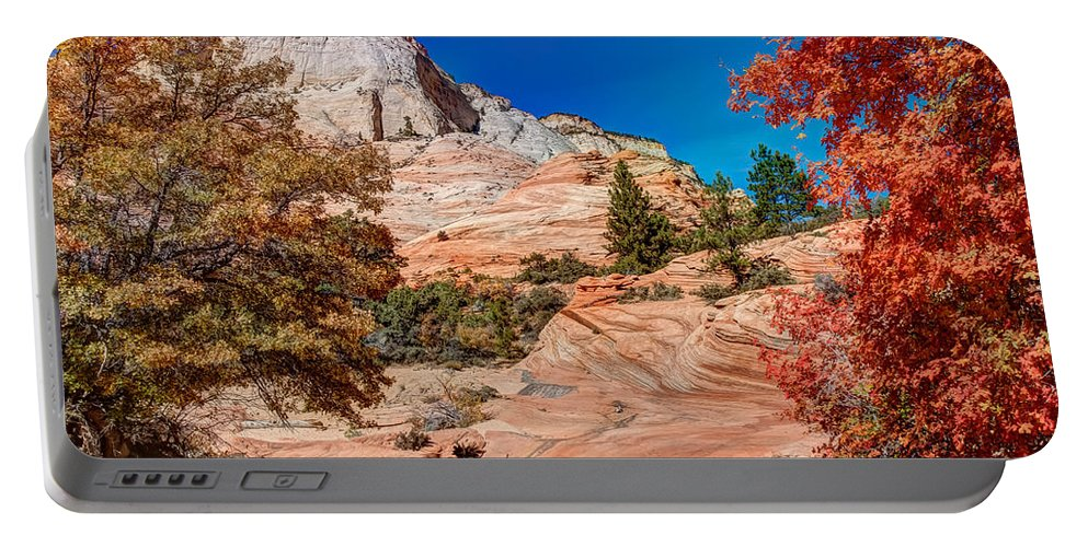 Landscape Portable Battery Charger featuring the photograph Bright Fall Colors At Zion by John M Bailey