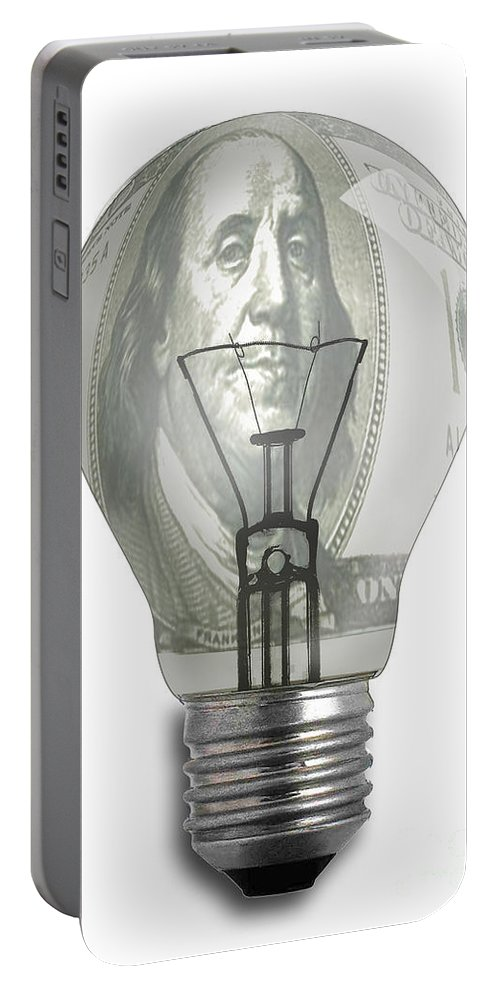 Light Bulb Portable Battery Charger featuring the digital art Bright Idea-2 by Chris Van Es