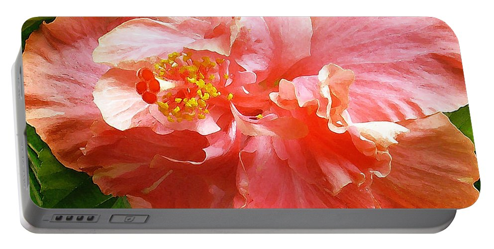 Hibiscus Portable Battery Charger featuring the digital art Bright Pink Hibiscus by James Temple