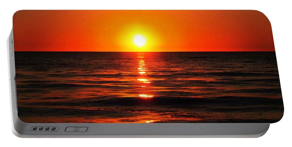 Ocean Portable Battery Charger featuring the painting Bright Skies - Sunset Art By Sharon Cummings by Sharon Cummings