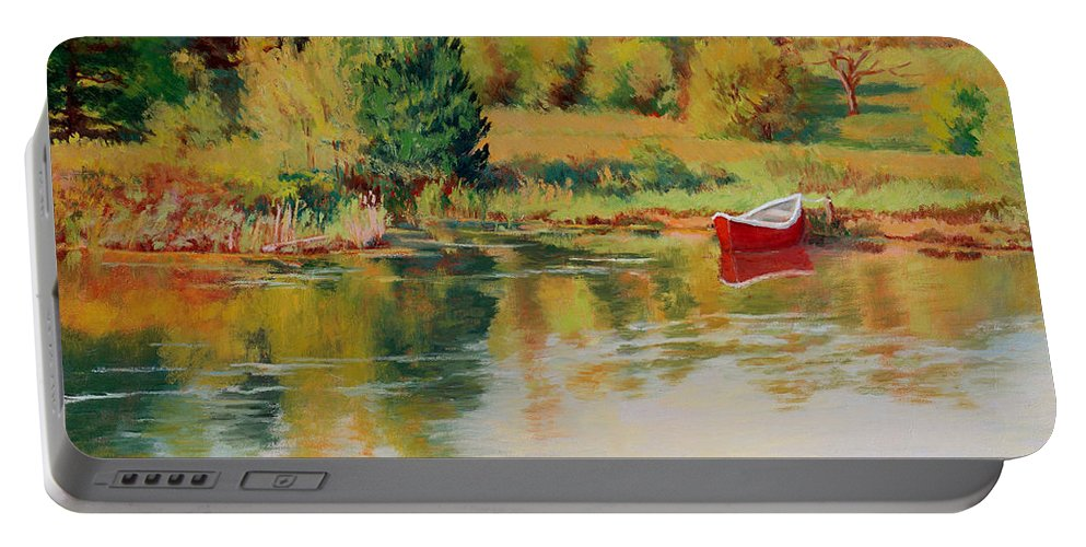 Landscape Portable Battery Charger featuring the painting Bright Spring Afternoon by Keith Burgess
