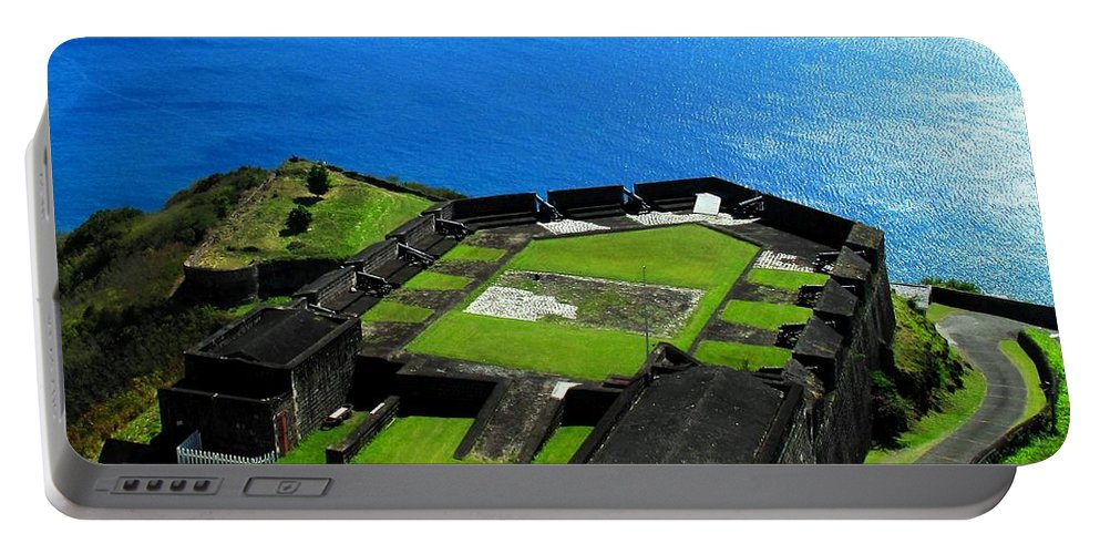 Brimstone Portable Battery Charger featuring the photograph Brimstone Fortress St Kitts by Ian MacDonald