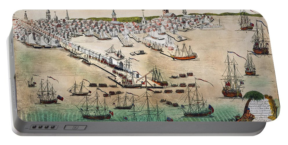 1768 Portable Battery Charger featuring the photograph British Landing, 1768 by Granger