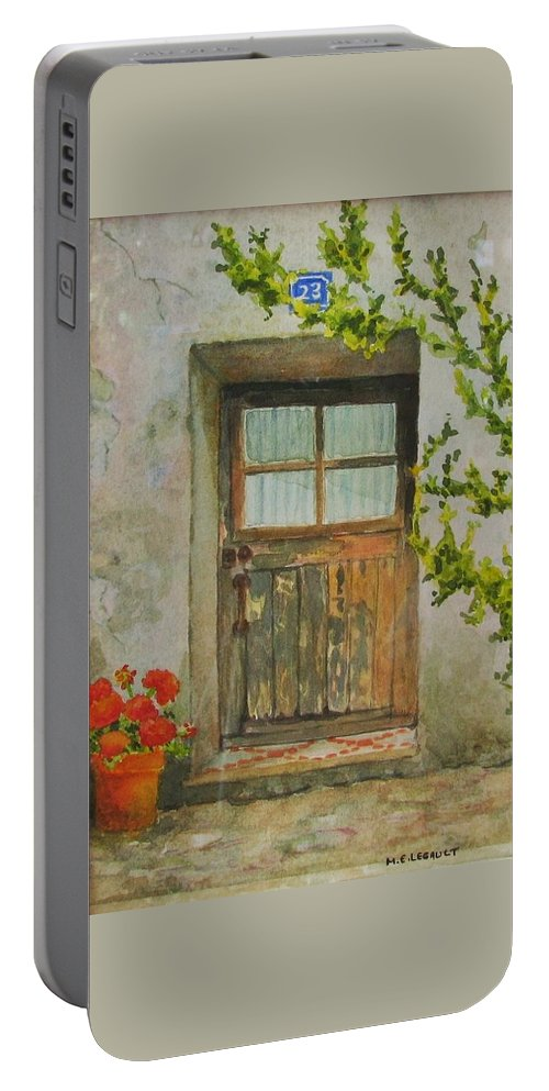 Door Portable Battery Charger featuring the painting Brittany Door by Mary Ellen Mueller Legault