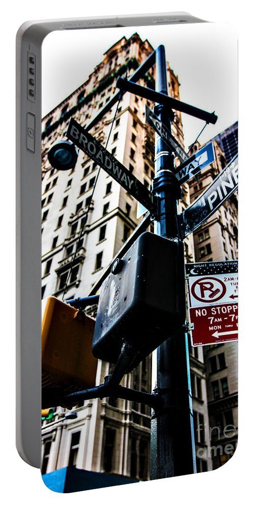 Streets Of New York Portable Battery Charger featuring the photograph Broadway And Pine by Digital Kulprits