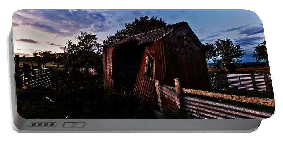 Metal Portable Battery Charger featuring the photograph Brokeback Barn by Beverly Cash