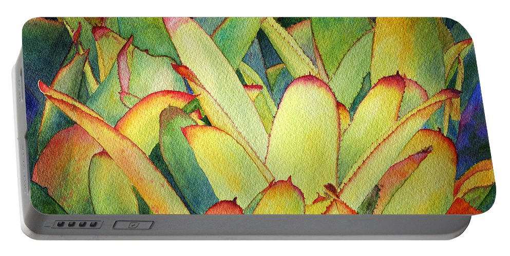 Flowers Portable Battery Charger featuring the painting Bromeliads I by Roger Rockefeller