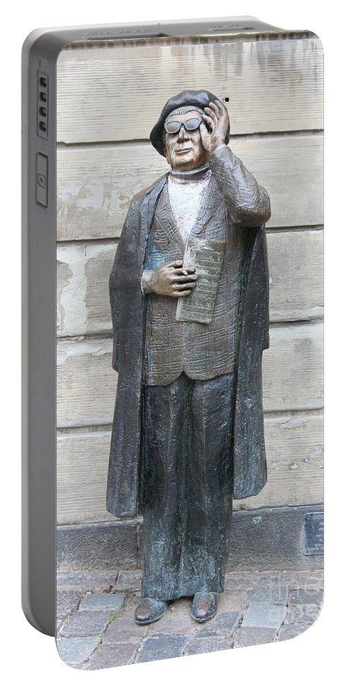 Statue Portable Battery Charger featuring the photograph Bronze Statue Stockholm - Evert Taube by Christiane Schulze Art And Photography