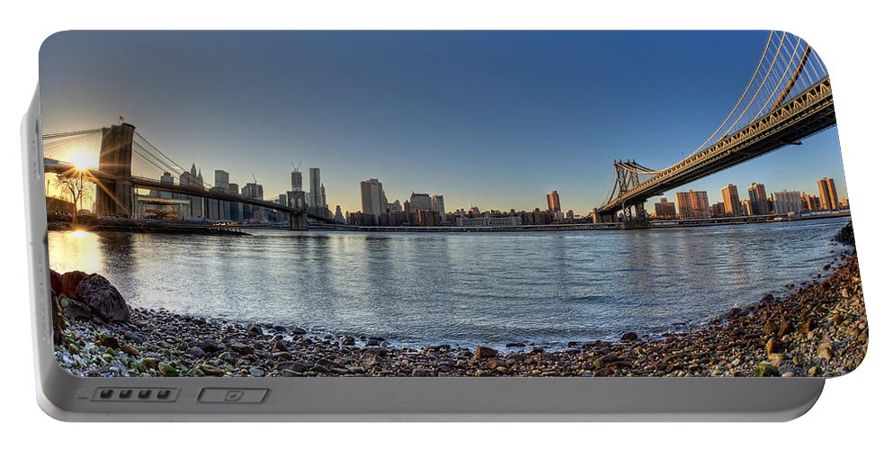 Fisheye Portable Battery Charger featuring the photograph Brooklyn And Manhattan Bridge Fisheye by Michael Ver Sprill