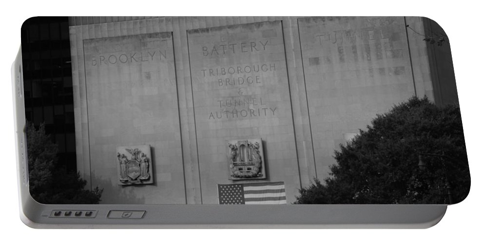 Brooklyn Portable Battery Charger featuring the photograph Brooklyn Battery Tunnel In Black And White by Rob Hans