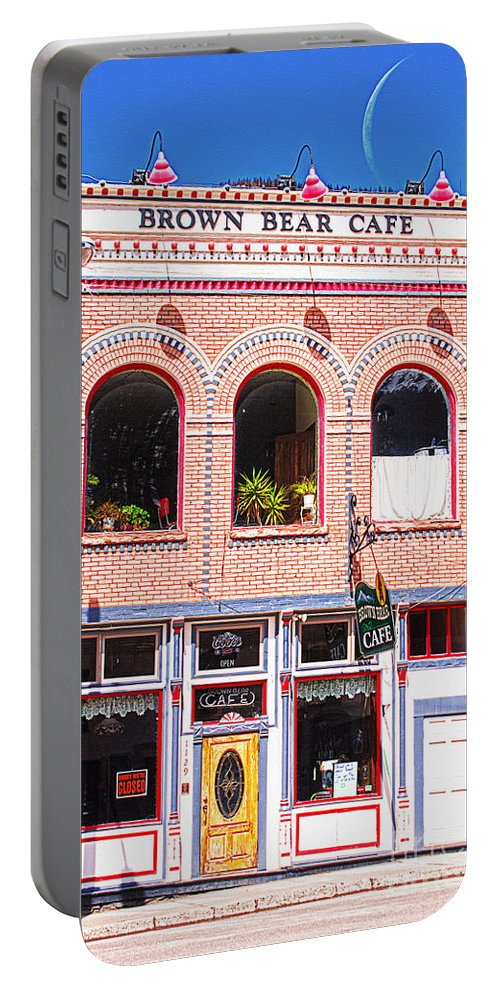 Silverton Portable Battery Charger featuring the photograph Brown Bear Cafe Silverton Colorado by Janice Rae Pariza