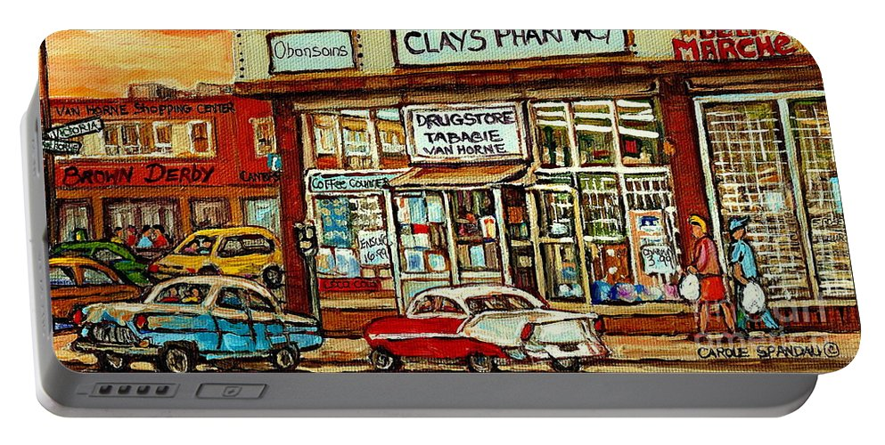 Montreal Portable Battery Charger featuring the painting Brown Derby Van Horne Shopping Center Clay's Pharmacy Montreal Paintings City Scenes Carole Spandau by Carole Spandau