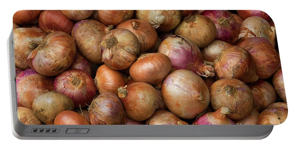 Brown Portable Battery Charger featuring the photograph Brown Onions by Rick Piper Photography