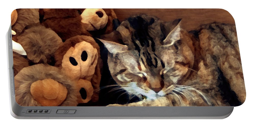 Tabby Portable Battery Charger featuring the photograph Brownie by Jeanne A Martin