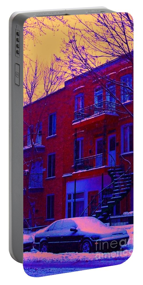 Montreal Portable Battery Charger featuring the photograph Brownstones In Winter 6 by Carole Spandau