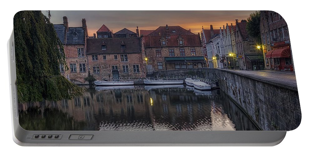 Joan Carroll Portable Battery Charger featuring the photograph Bruges Canal Dawn by Joan Carroll