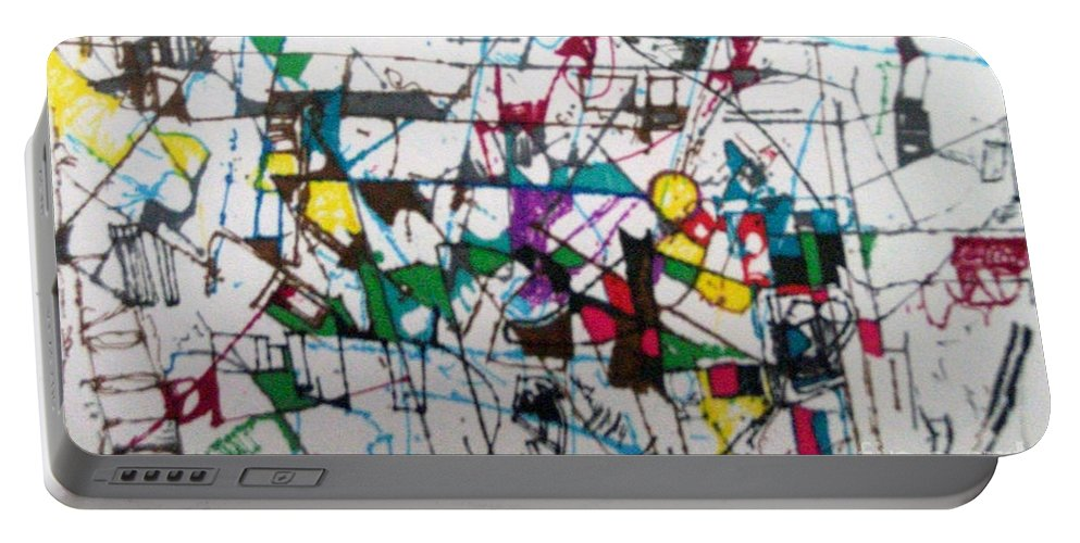 Torah Portable Battery Charger featuring the drawing bSeter Elyon 19 by David Baruch Wolk