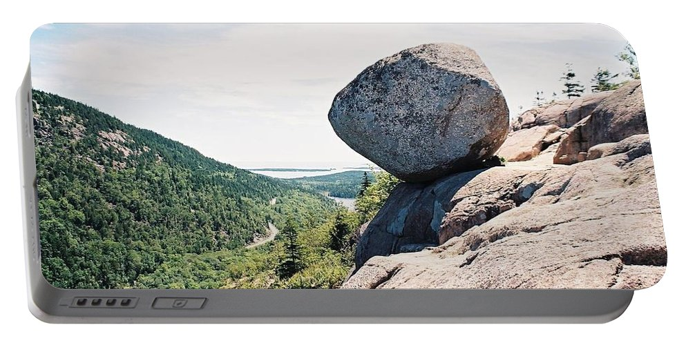 Bubble Rock Portable Battery Charger featuring the photograph Bubble Rock Acadia National Park Maine by Debbie Lloyd
