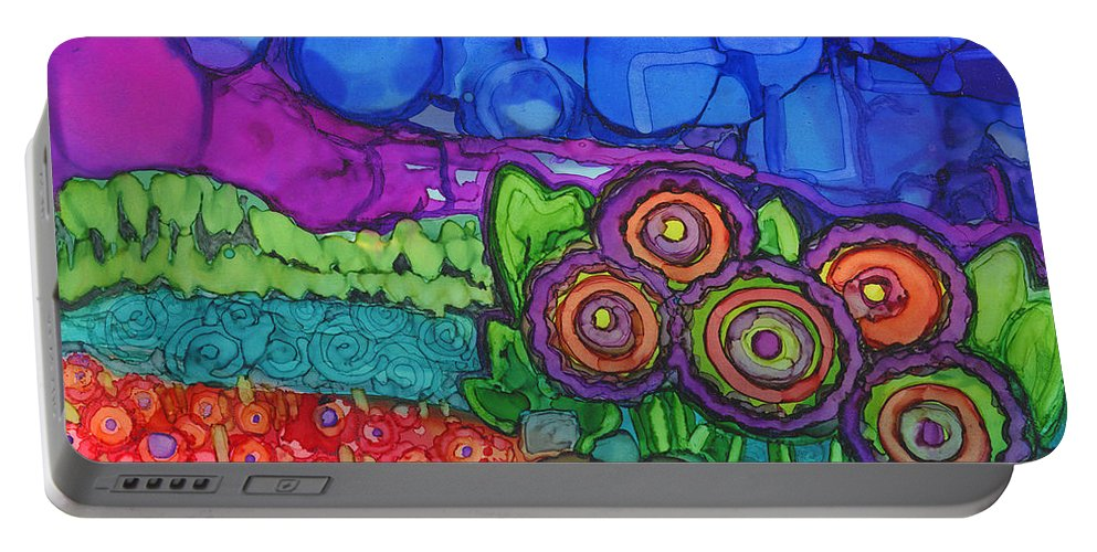 Alcohol Ink Portable Battery Charger featuring the painting Bubble Sky by Vicki Baun Barry