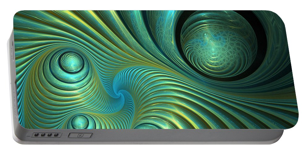 Fractal Portable Battery Charger featuring the digital art Bubble Spiral by Martin Capek