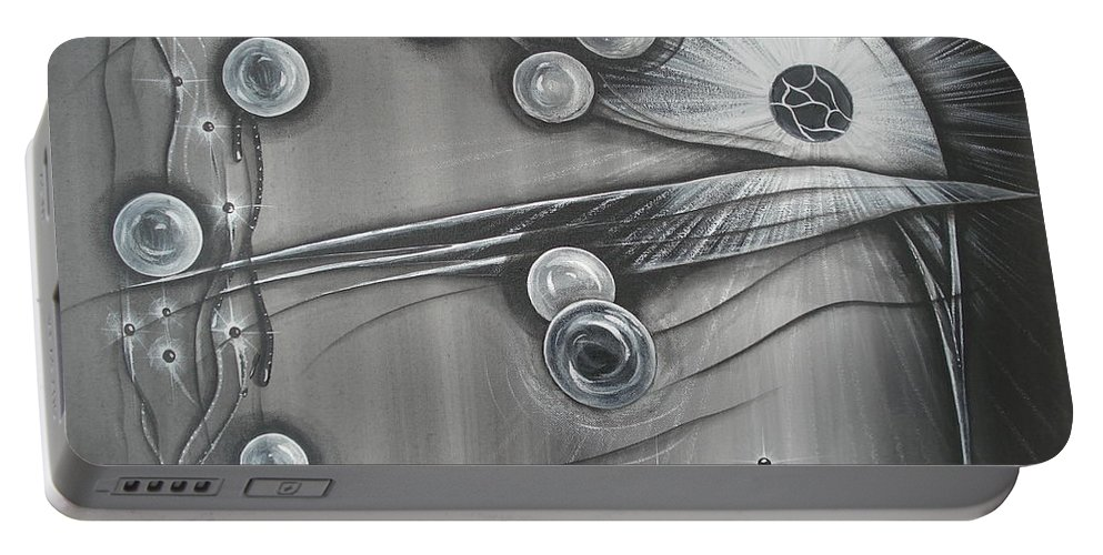 Bubbles Portable Battery Charger featuring the painting Bubbles In Grey by Krystyna Spink