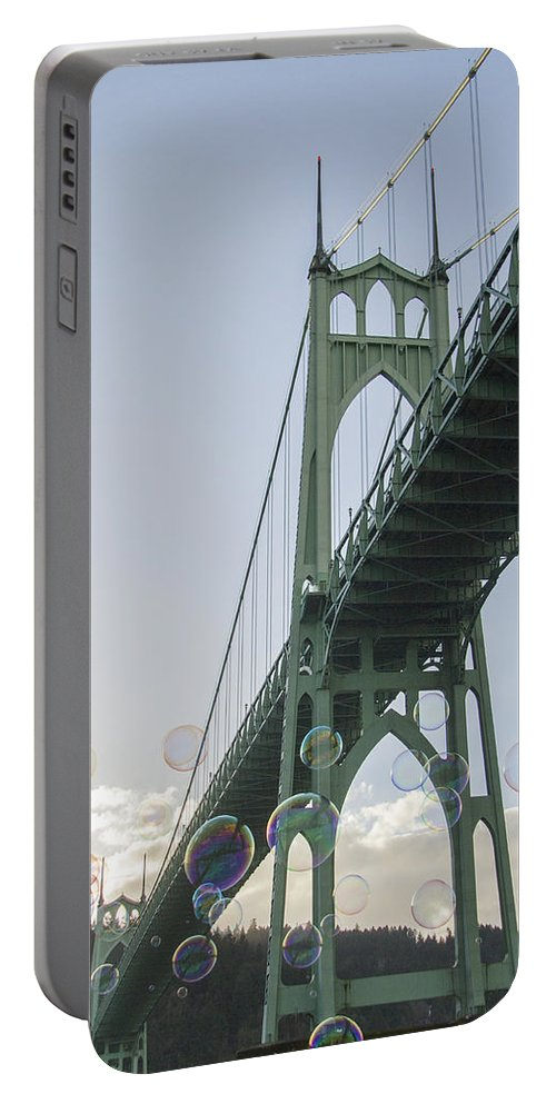 Bubbles Portable Battery Charger featuring the photograph Bubbly St.johns Bridge by Jean Noren