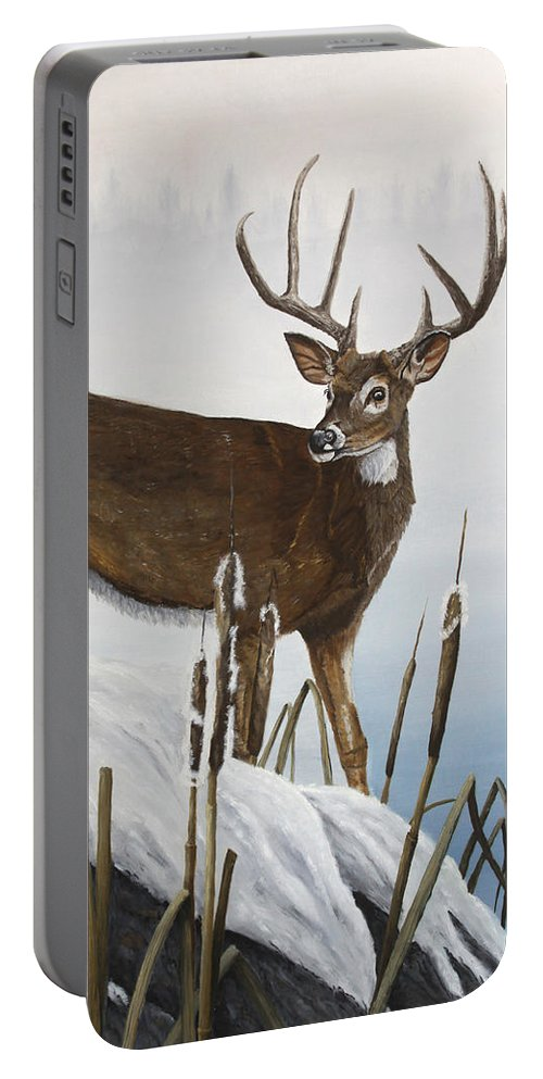 Buck Portable Battery Charger featuring the painting Buck At Waters Edge by Johanna Lerwick