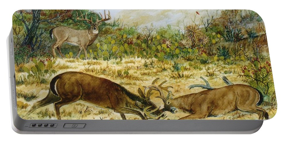 Wildlife Portable Battery Charger featuring the painting Buck Fight by Don Hand