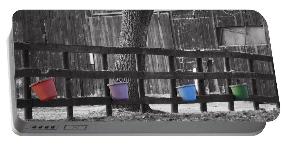 Fence Full Of Buckets Portable Battery Charger featuring the photograph Buckets by Tracy Winter