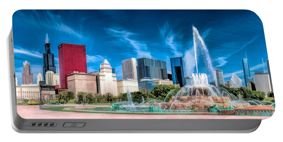 Chicago Portable Battery Charger featuring the painting Buckingham Fountain Skyline Panorama by Christopher Arndt