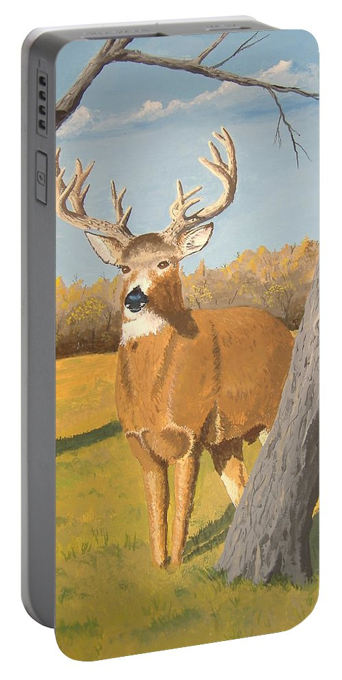 Deer Portable Battery Charger featuring the painting Bucky The Deer by Norm Starks