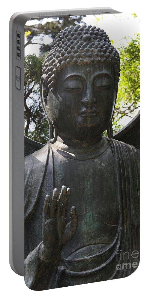 Buddhas Hand Portable Battery Charger featuring the photograph Buddha Detail by Christiane Schulze Art And Photography