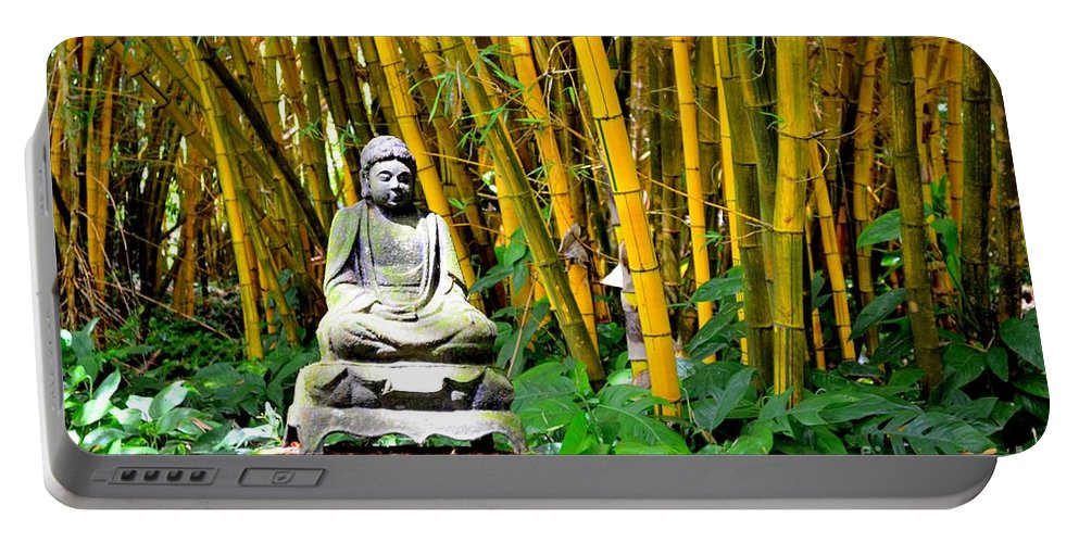 Buddha Portable Battery Charger featuring the photograph Buddha In The Bamboo Forest by Mary Deal