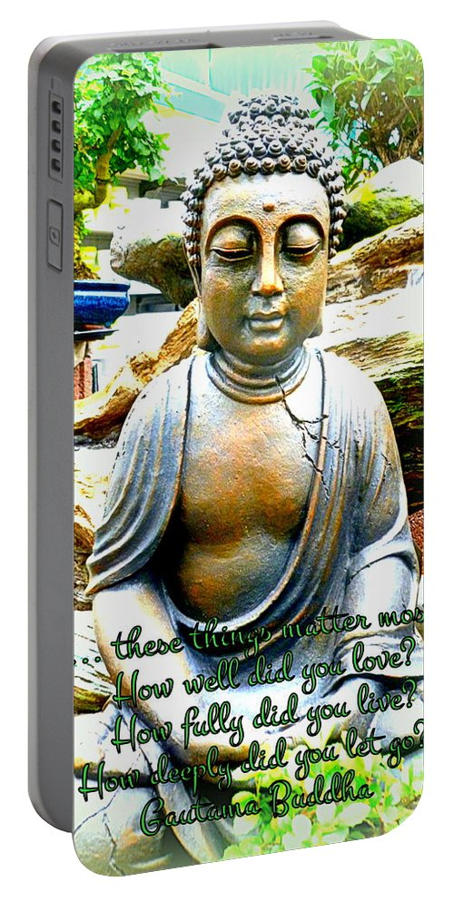 Buddha Portable Battery Charger featuring the photograph Buddha Quotes by The Creative Minds Art and Photography