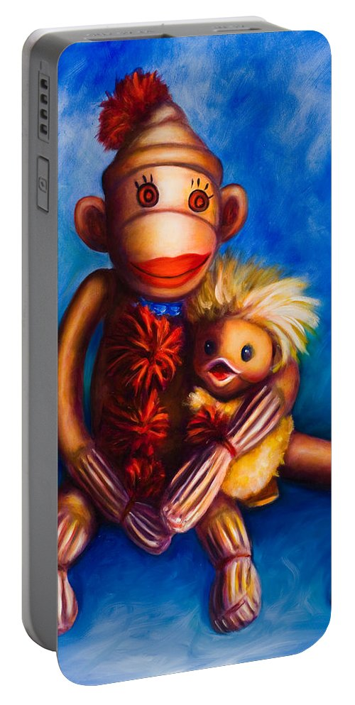 Sock Monkeys Brown Portable Battery Charger featuring the painting Buddies by Shannon Grissom