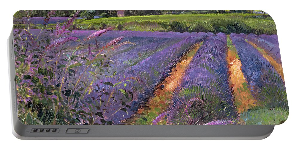 Flower; Landscape Portable Battery Charger featuring the painting Buddleia And Lavender Field Montclus by Timothy Easton
