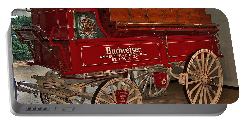 Budweiser Portable Battery Charger featuring the photograph Budweiser Anheuser Busch Wagon by Barb Dalton