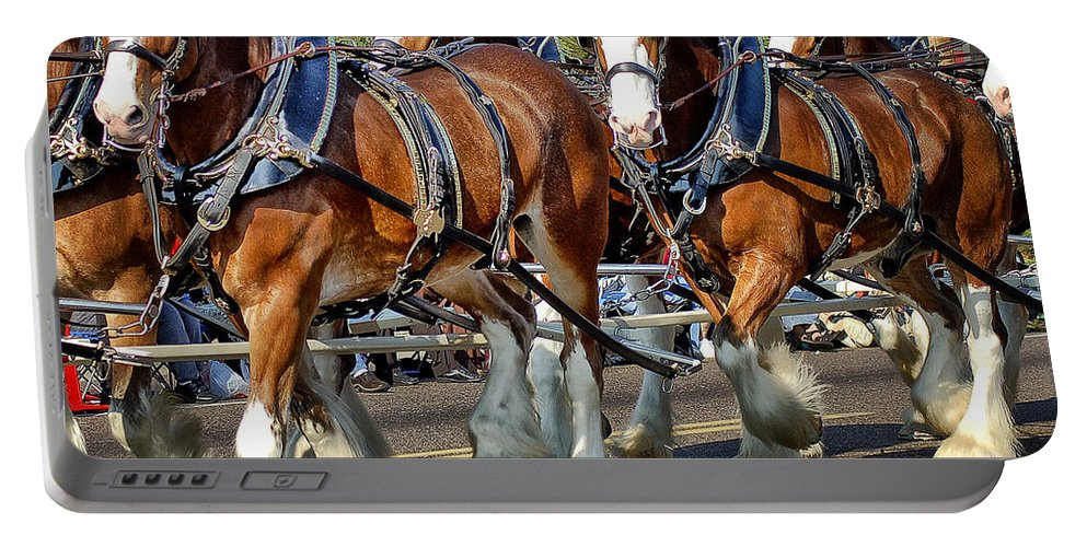 Clydesdale Portable Battery Charger featuring the photograph Budweiser Clydesdales by Jon Berghoff