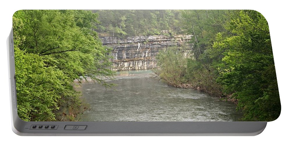 Buffalo National River Portable Battery Charger featuring the photograph Buffalo River Mist Horizontal by Marty Koch