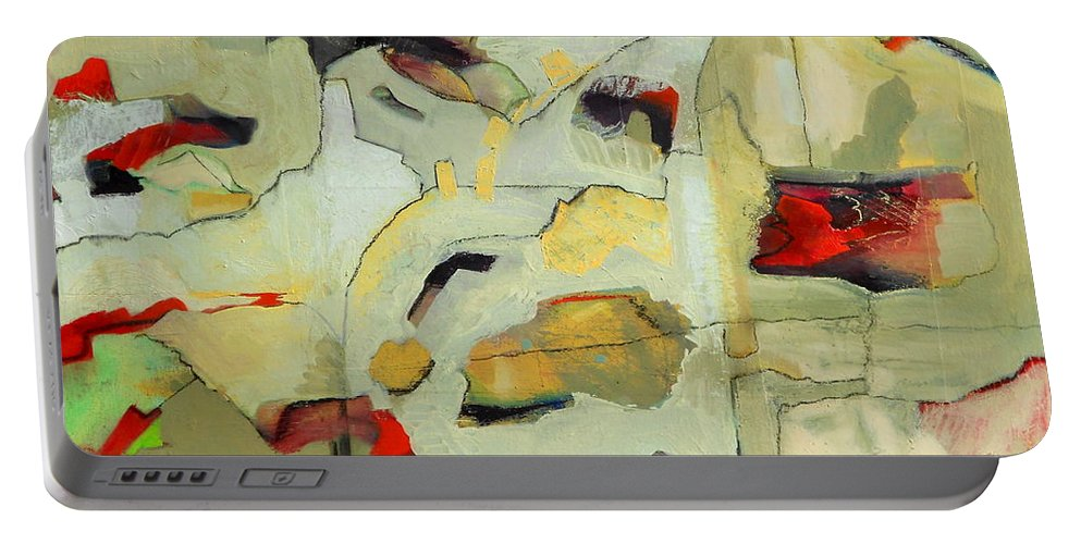 Abstract Oil Painting Portable Battery Charger featuring the painting Buffer Zones by Danielle Nelisse