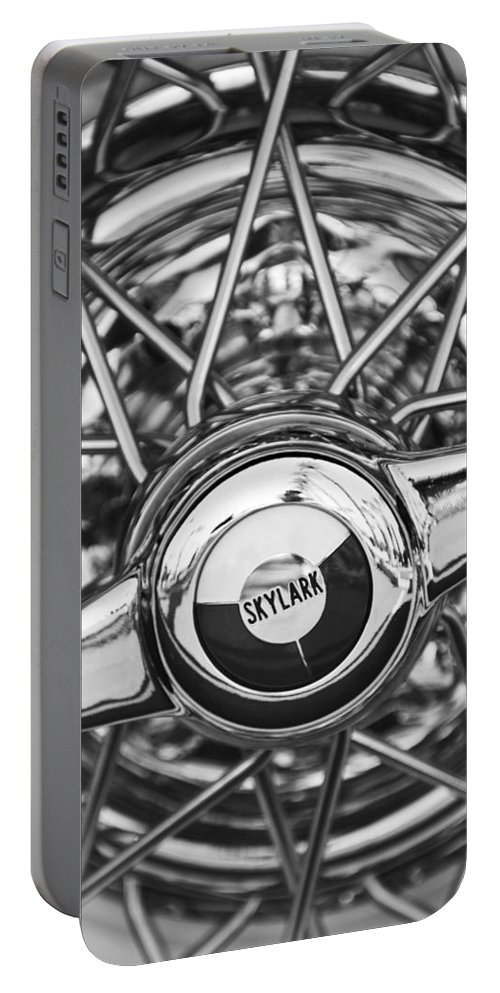 Black And White Portable Battery Charger featuring the photograph Buick Skylark Wheel Black And White by Jill Reger